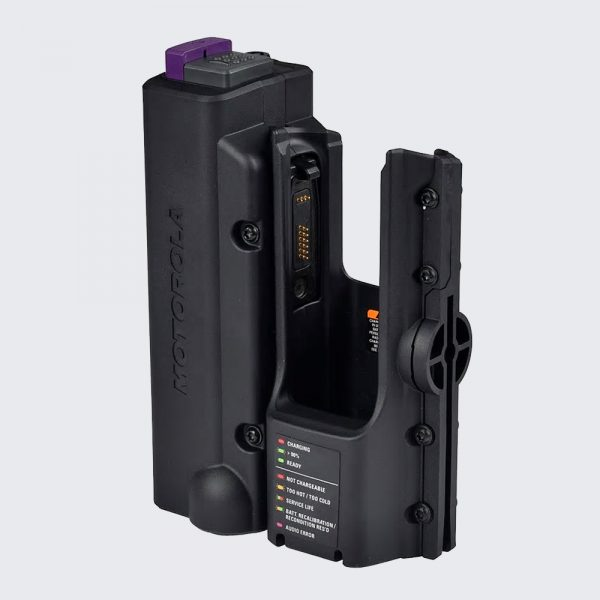 The NNTN8527 IMPRES™ APX™ Vehicular Adapter is designed to turn your portable radio into a virtual mobile.