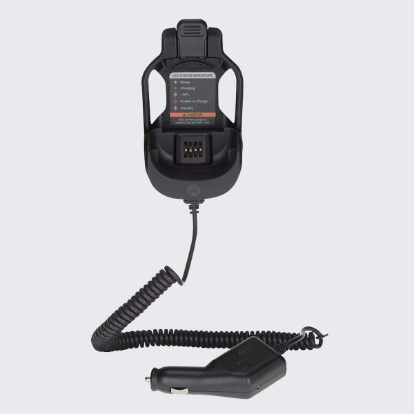 The PMLN6716A Wireless RSM Vehicle Charger allows you to communicate with your radio while charging your battery.
