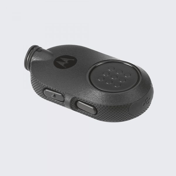 The NNTN8127 Operations-Critical Wireless PTT Pod is compact and lightweight, yet features a large, easy-to-access PTT button.